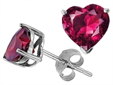 Tommaso Design Heart Shape 6mm Created Ruby Earring Studs