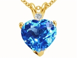 Tommaso Design Genuine 8mm Blue Topaz and Diamond Heart Pendant