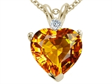 Tommaso Design 8mm Heart Shape Genuine Citrine and Diamond Heart Pendant
