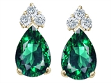 Tommaso Design Pear Shape 8x6mm Simulated Emerald And Genuine Diamond Earrings