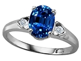 Tommaso Design™ Oval 8x6mm Created Sapphire and Genuine Diamond Ring