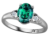 Tommaso Design Oval 8x6mm Simulated Emerald and Genuine Diamond Ring