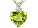 Tommaso Design™ Heart Shape 8mm Genuine Peridot and Diamond Pendant