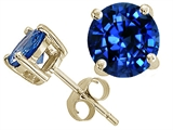 Tommaso Design 7mm Round Created Sapphire Earring Studs