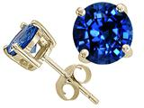 Tommaso Design™ 7mm Round Created Sapphire Earrings Studs style: 25474