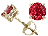 Tommaso Design Round 6mm Created Ruby Screw Back Earring Stud