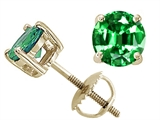 Tommaso Design™ Round 6mm Simulated Emerald Screw Back Earrings Studs style: 25478