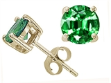 Tommaso Design™ Quality 7mm Round Simulated Emerald Earring Studs