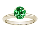 Tommaso Design™ Round 7mm Simulated Emerald Solitaire Engagement Ring