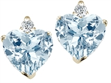 Tommaso Design™ Heart Shape 6mm Genuine Aquamarine and Diamond Earring Studs