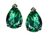 Tommaso Design™ Pear Shape 8x6mm Simulated Emerald Earring Studs
