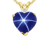 Tommaso Design™ Created Star Sapphire and Genuine Diamond Heart Pendant