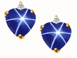 Tommaso Design™ Heart Shape Created Star Sapphire and Genuine Diamonds Earring Studs