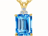 Tommaso Design™ Emerald Cut 10x8mm Genuine Blue Topaz and Diamond Pendant