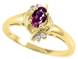 Tommaso Design Oval 5x3 mm Genuine Rhodolite and Diamond Ring