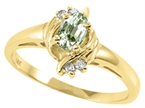 Tommaso Design Oval 5x3 mm Genuine Green Amethyst and Diamond Ring