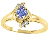 Tommaso Design™ Round 4mm Genuine Tanzanite and Diamond Ring