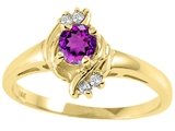 Tommaso Design™ Genuine Amethyst Round 4mm and Diamond Ring style: 25658
