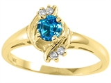 Tommaso Design™ Round 4mm Genuine Blue Topaz and Diamond Ring