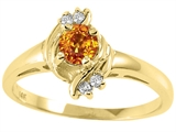 Tommaso Design™ Round 4mm Genuine Citrine and Diamond Ring