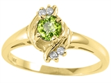 Tommaso Design™ Round 4mm Genuine Peridot and Diamond Ring