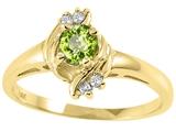 Tommaso Design™ Round 4mm Genuine Peridot and Diamond Ring style: 25662