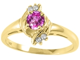 Tommaso Design™ Round 4mm Genuine Pink Tourmaline and Diamond Ring