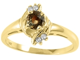 Tommaso Design™ Round 4mm Genuine Smoky Quartz and Diamond Ring