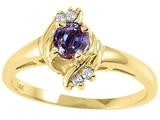Tommaso Design™ Round 4mm Simulated Alexandrite And Genuine Diamond Ring