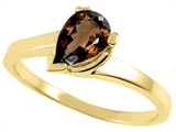 Tommaso Design™ Pear Shape 7x5mm Genuine Smoky Quartz Ring