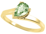 Tommaso Design™ Pear Shaped 7x5mm Genuine Green Amethyst Ring