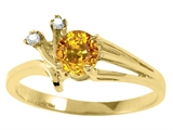 Tommaso Design Round 5mm Genuine Yellow Sapphire and Diamond Ring