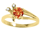 Tommaso Design™ Round 5mm Genuine Orange Sapphire and Diamond Ring