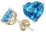 Tommaso Design Heart Shape Genuine Blue Topaz and Earring Studs