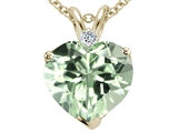 Tommaso Design 8mm Genuine Green Amethyst and Diamond Heart Pendant