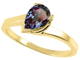 Tommaso Design™ Pear Shape 7x5mm Simulated Alexandrite Ring