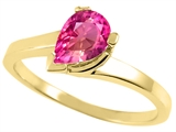 Tommaso Design™ Pear Shape 7x5mm Simulated Pink Topaz Ring