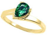 Tommaso Design™ Pear Shape 7x5mm Simulated Emerald Ring
