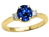 Tommaso Design™ Created Sapphire and Genuine Diamond Engagement Ring