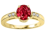 Tommaso Design™ Round 7mm Created Ruby and Genuine Diamond Engagement Ring