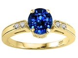 Tommaso Design™ Round 7mm Created Sapphire and Genuine Diamond Engagement Ring