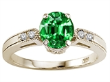 Tommaso Design™ Round 7mm Simulated Emerald And Genuine Diamond Engagement Ring