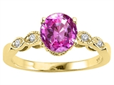 Tommaso Design™ Round 7mm Simulated Pink Topaz Engagement Ring
