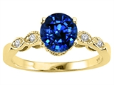 Tommaso Design™ Round 7mm Created Sapphire Engagement Ring