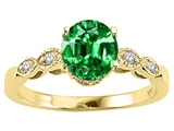 Tommaso Design™ Round 7mm Simulated Emerald Engagement Ring