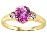 Tommaso Design™ Round 7mm Created Pink Sapphire and Diamond Engagement Ring