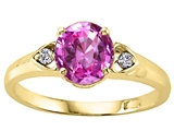 Tommaso Design Round 7mm Simulated Pink Topaz And Diamond Engagement Ring
