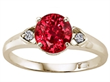 Tommaso Design Round Created Ruby and Diamond Engagement Ring