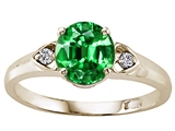 Tommaso Design™ Round 7mm Simulated Emerald and Diamond Engagement Ring