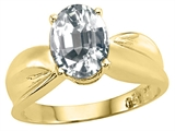 Tommaso Design™ Oval 9x7mm Genuine White Topaz Ring style: 25900